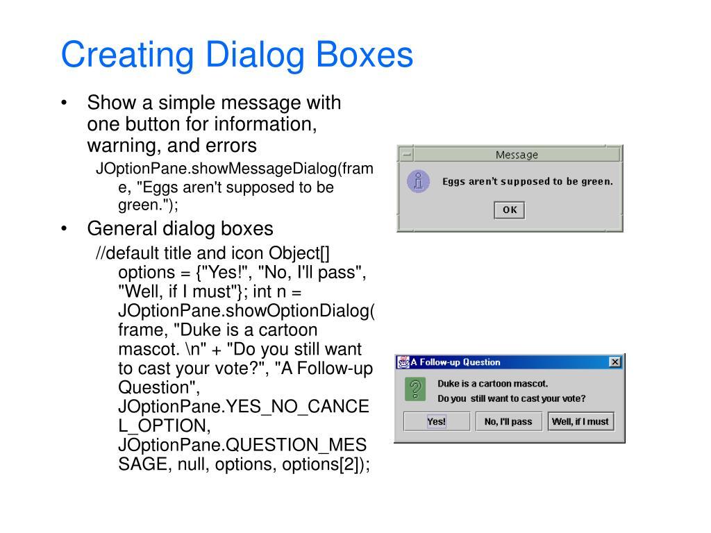 Creating Dialog Boxes
