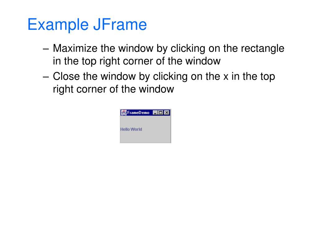 Example JFrame