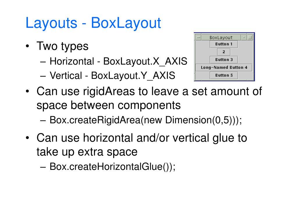 Layouts - BoxLayout
