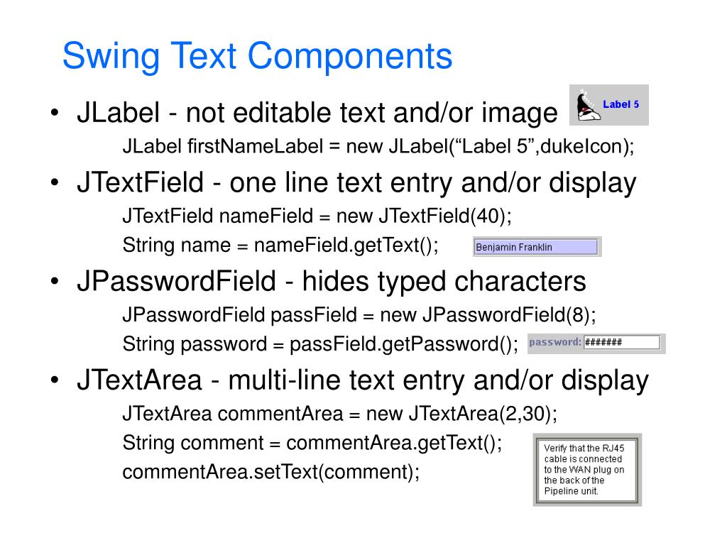 Swing Text Components