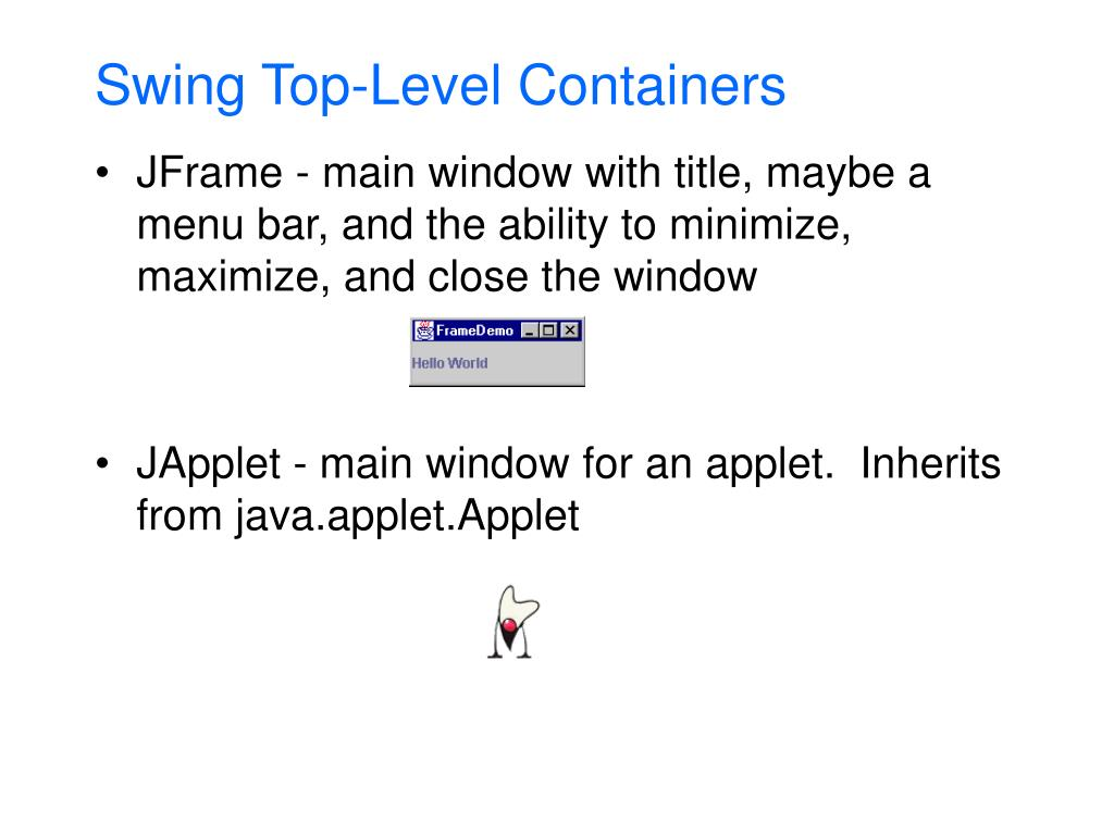 Swing Top-Level Containers