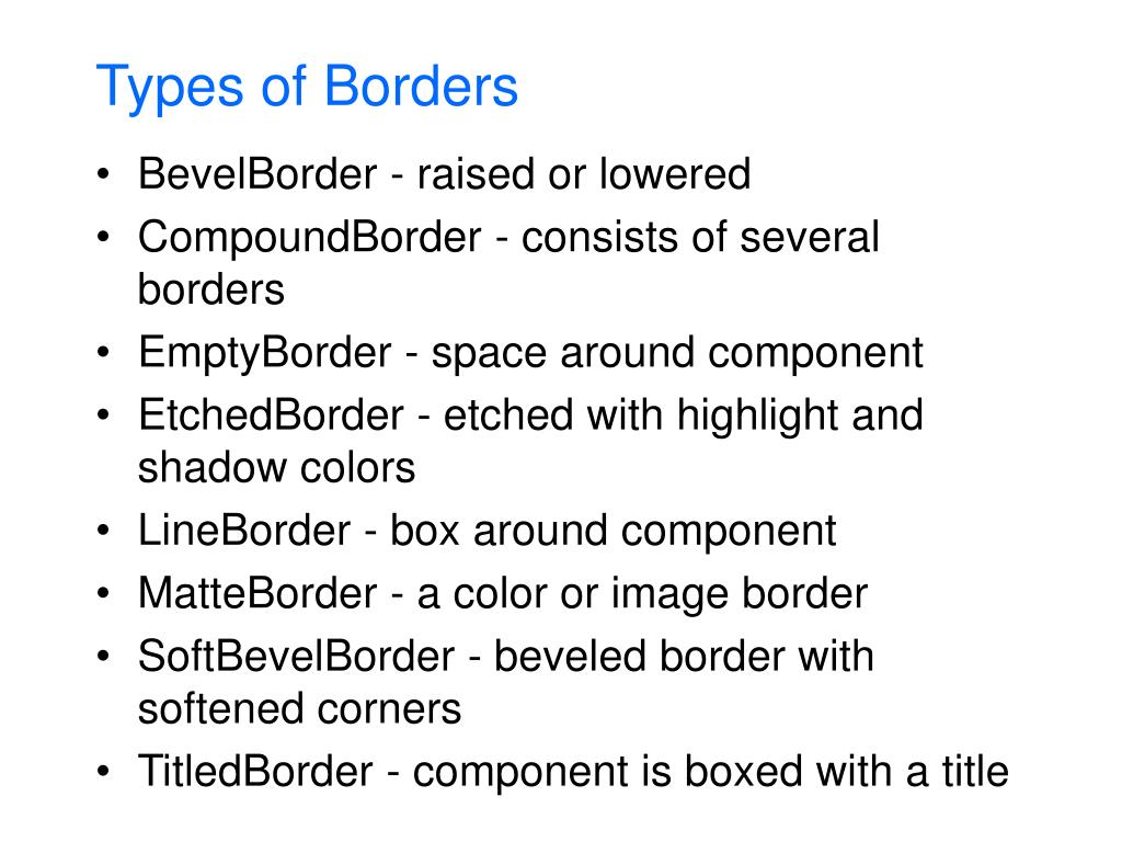 Types of Borders
