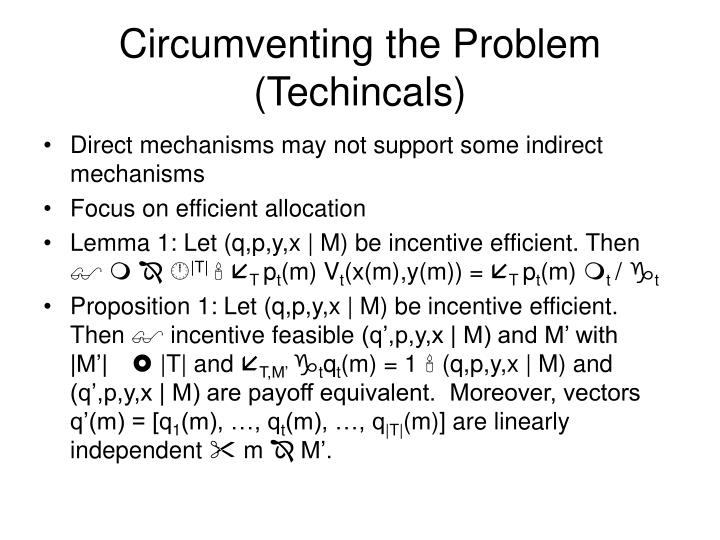 Circumventing the Problem (Techincals)