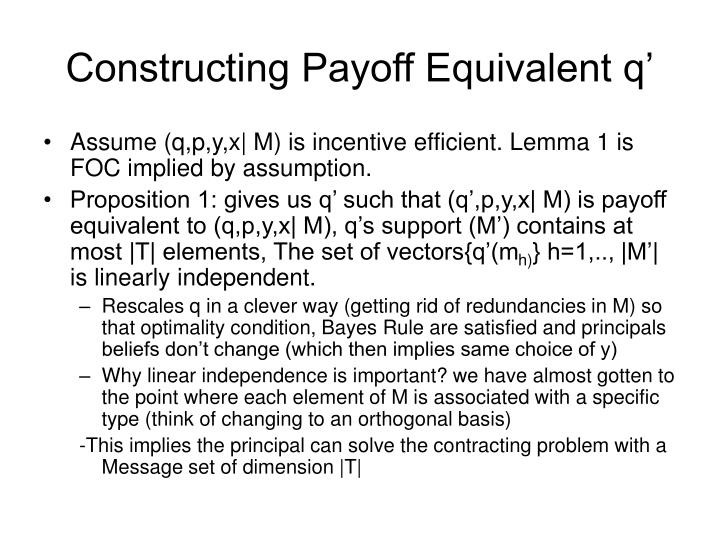 Constructing Payoff Equivalent q'