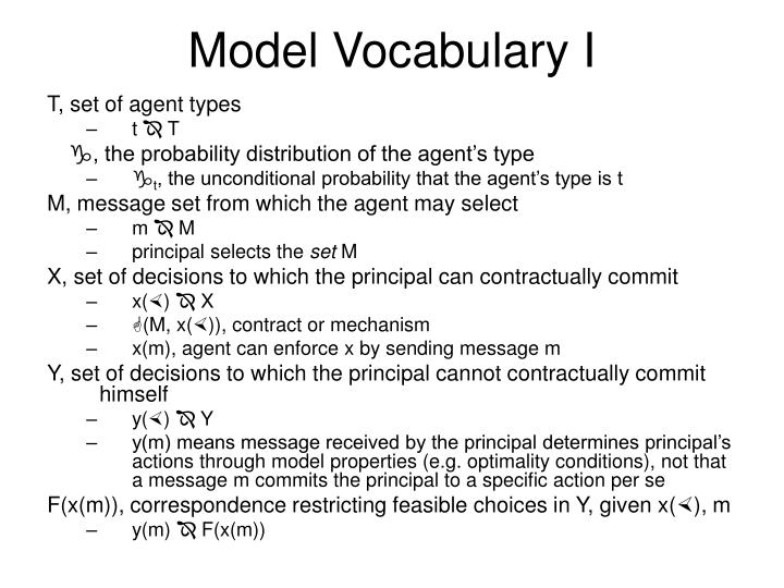 Model Vocabulary I