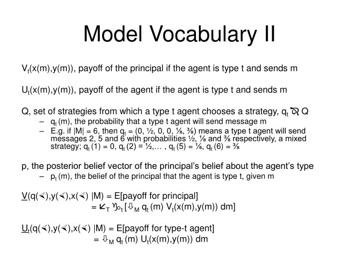 Model Vocabulary II