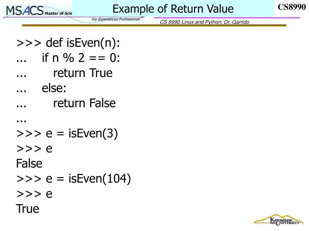 Example of Return Value
