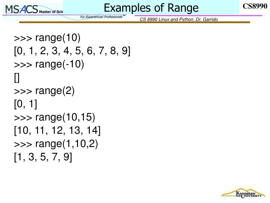 Examples of Range