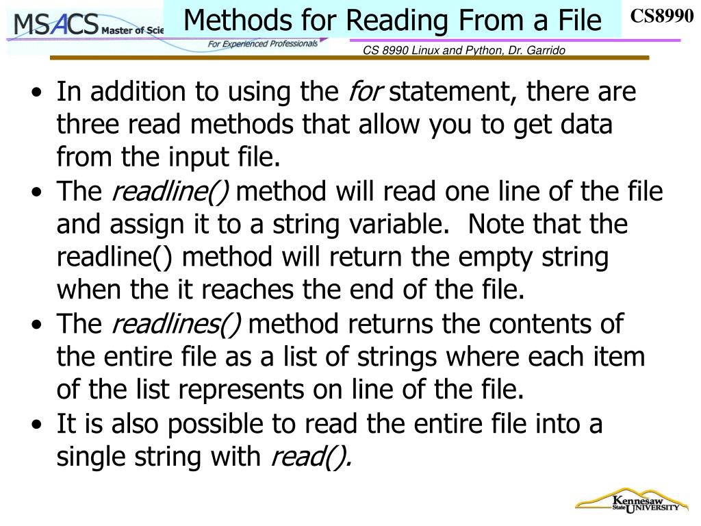 Methods for Reading From a File