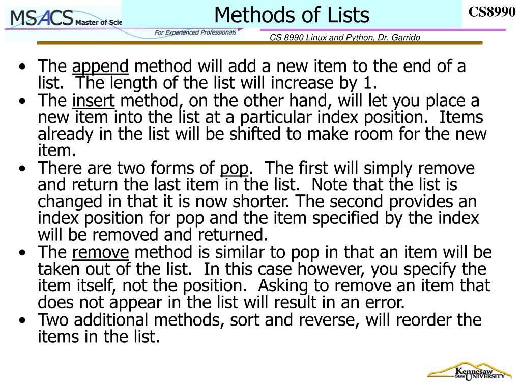 Methods of Lists