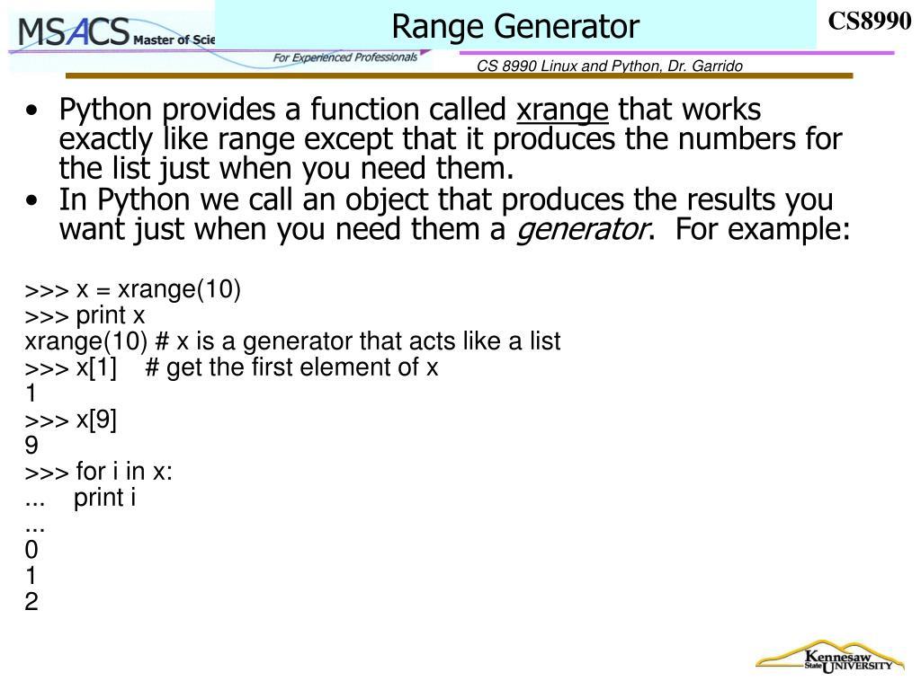 Range Generator
