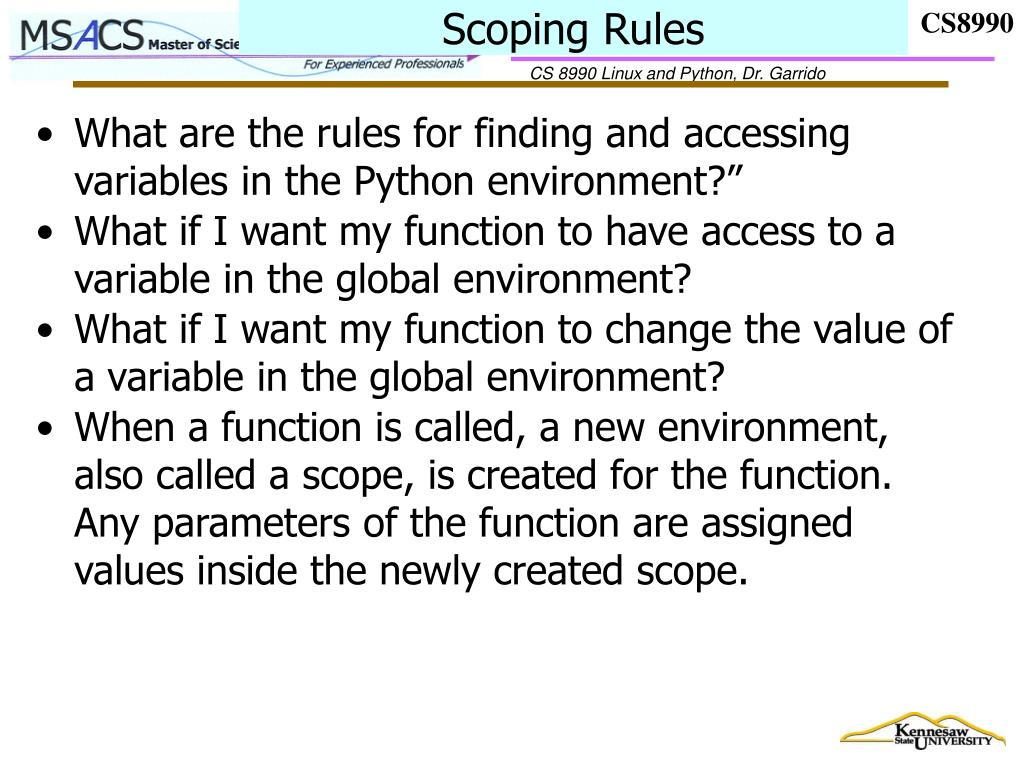 Scoping Rules