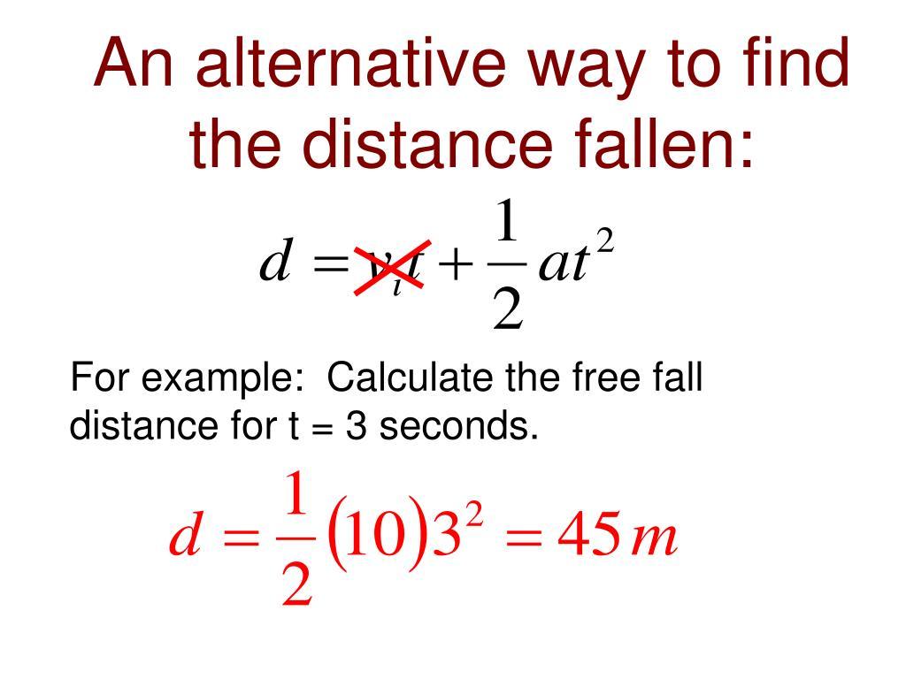 An alternative way to find the distance fallen: