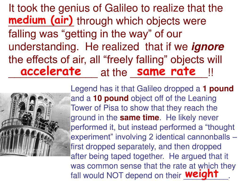 """It took the genius of Galileo to realize that the ___________ through which objects were falling was """"getting in the way"""" of our understanding.  He realized  that if we"""