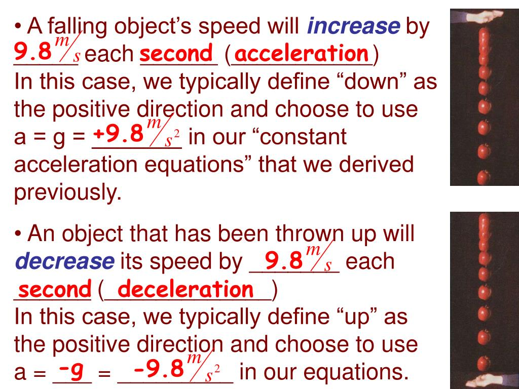 A falling object's speed will