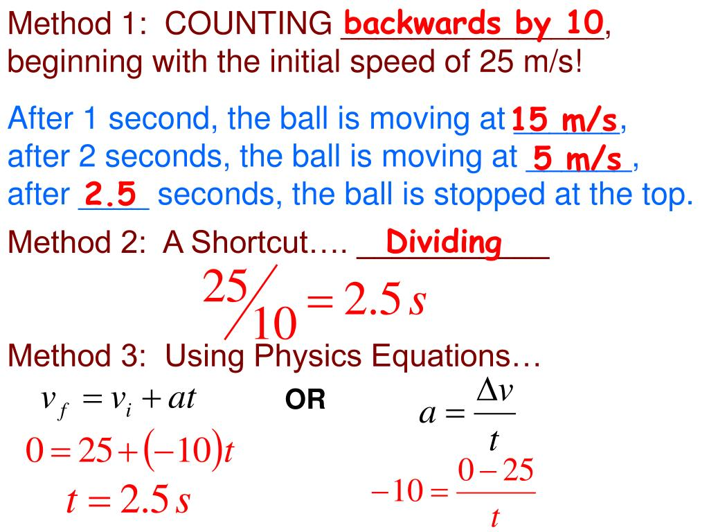 Method 1:  COUNTING _______________, beginning with the initial speed of 25 m/s!