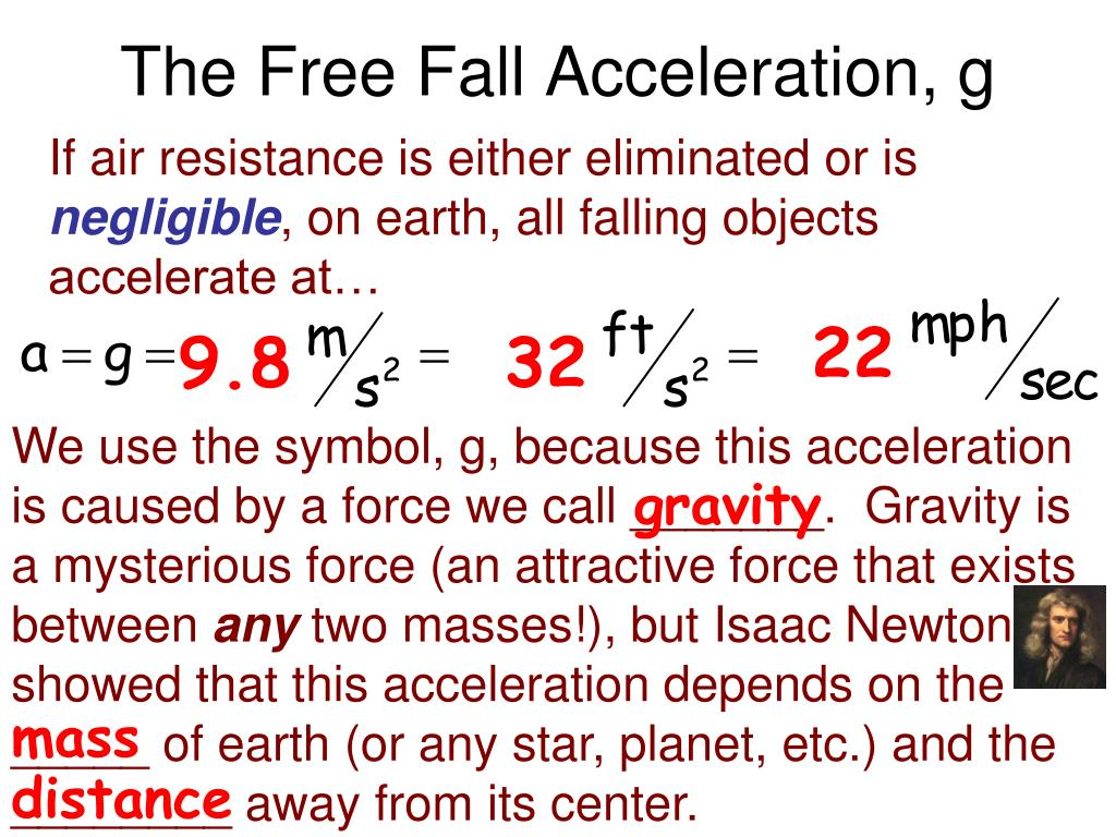 The Free Fall Acceleration, g