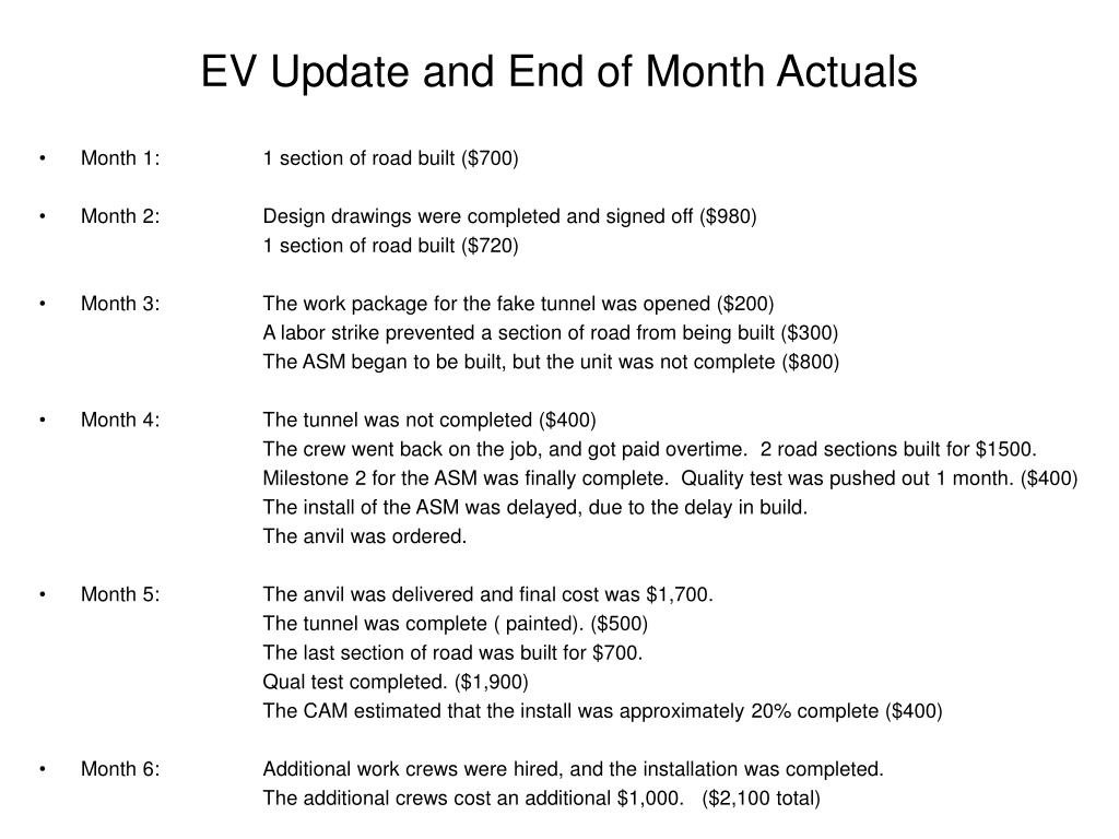 EV Update and End of Month Actuals