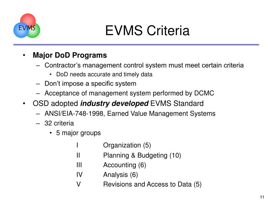 EVMS Criteria