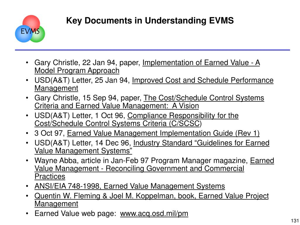 Key Documents in Understanding EVMS