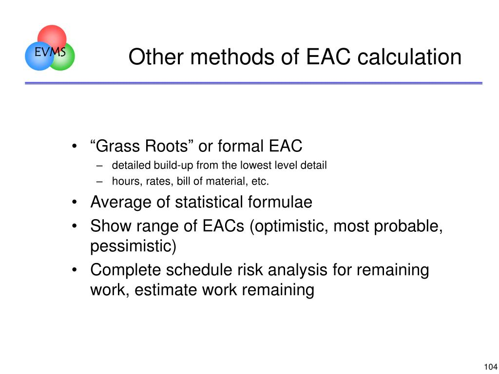 Other methods of EAC calculation