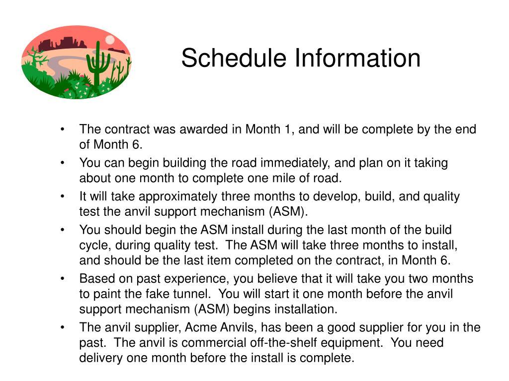 Schedule Information