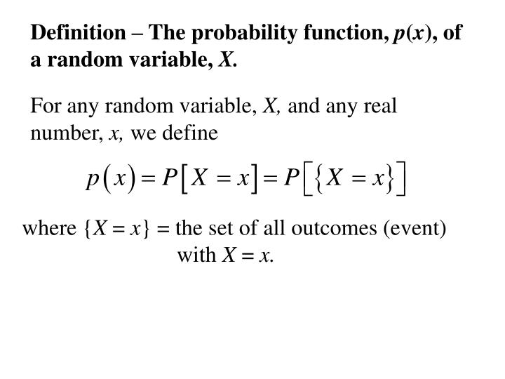 Definition – The probability function,