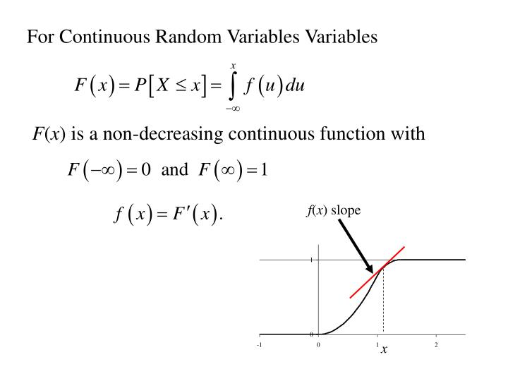 For Continuous Random Variables Variables