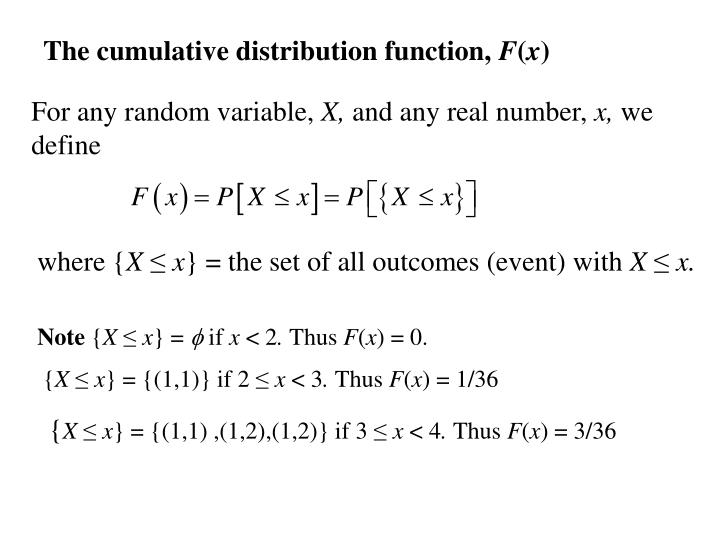 The cumulative distribution function,