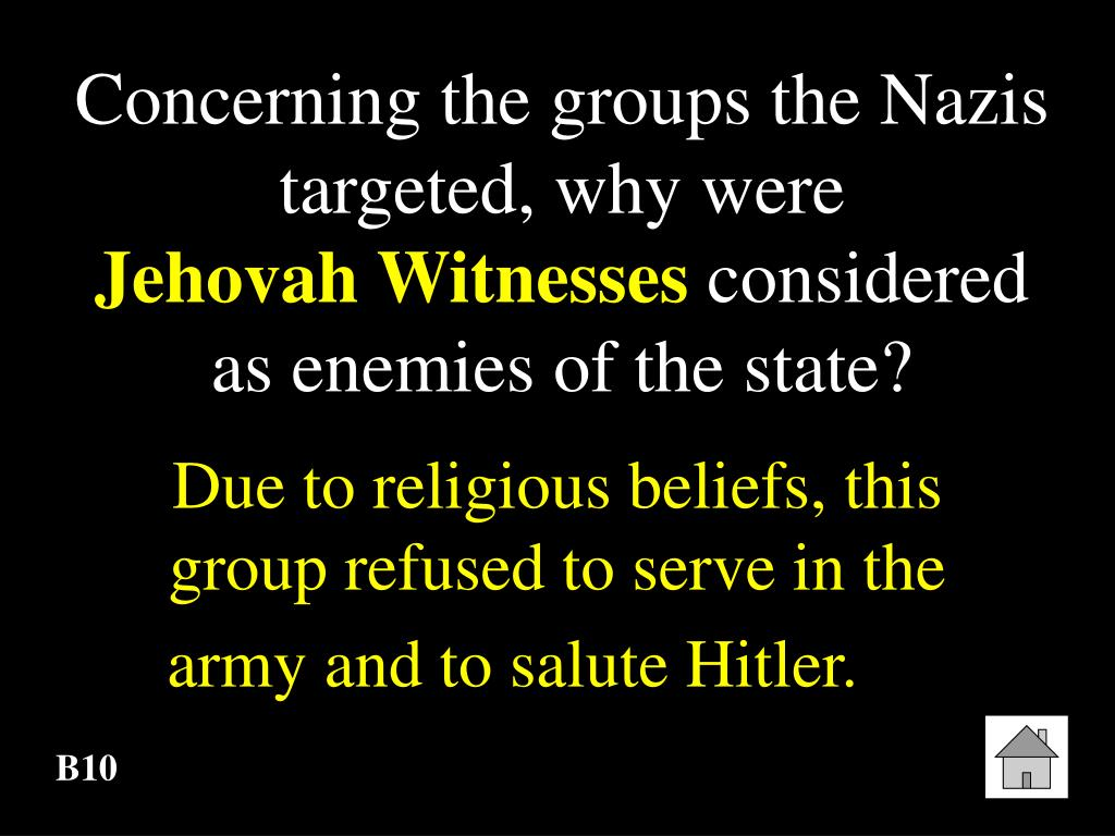 Concerning the groups the Nazis targeted, why were
