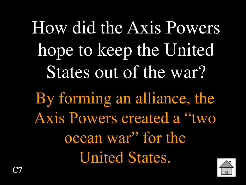 How did the Axis Powers hope to keep the United States out of the war?