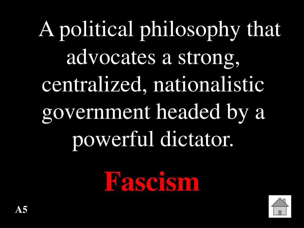 A political philosophy that advocates a strong, centralized, nationalistic government headed by a powerful dictator.