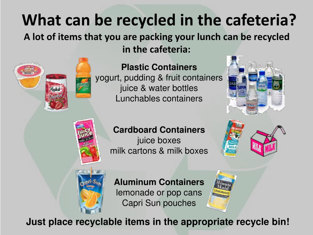 What can be recycled in the cafeteria?