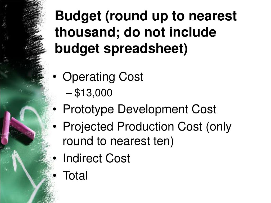 Budget (round up to nearest thousand; do not include budget spreadsheet)