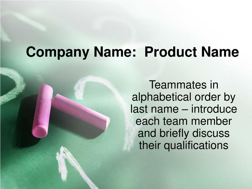 Company Name:  Product Name