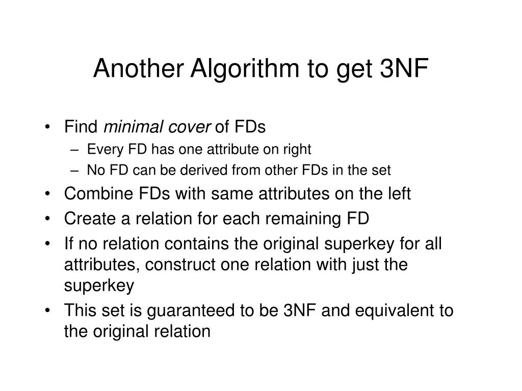 Another Algorithm to get 3NF