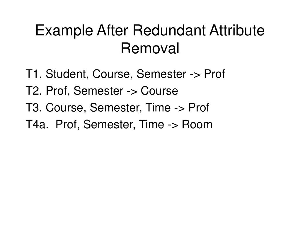 Example After Redundant Attribute Removal