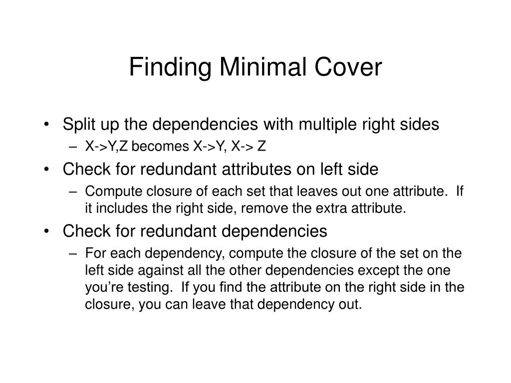 Finding Minimal Cover