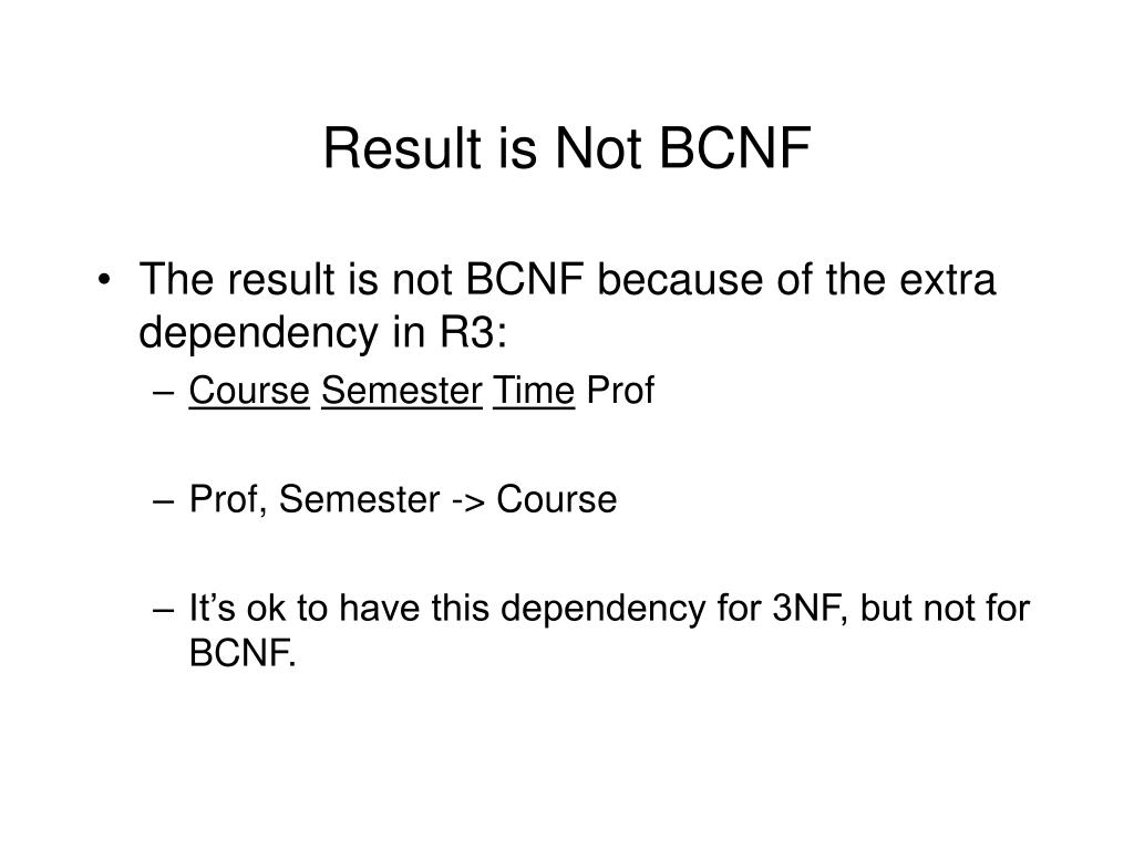 Result is Not BCNF