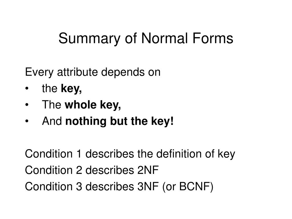 Summary of Normal Forms