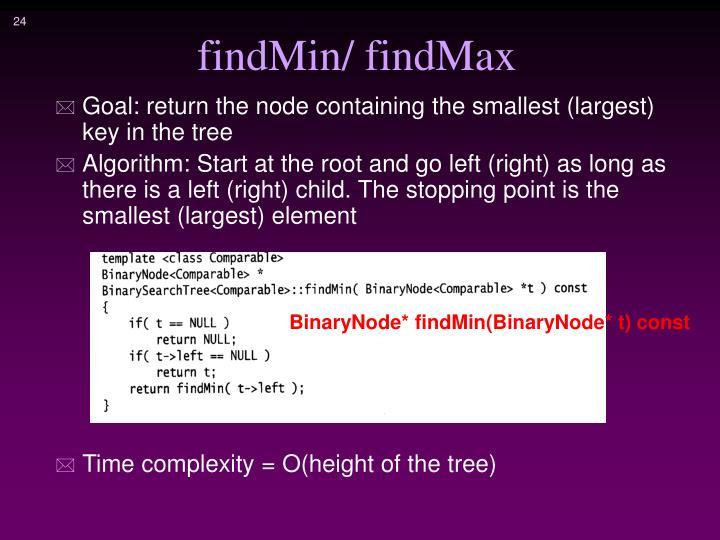 findMin/ findMax