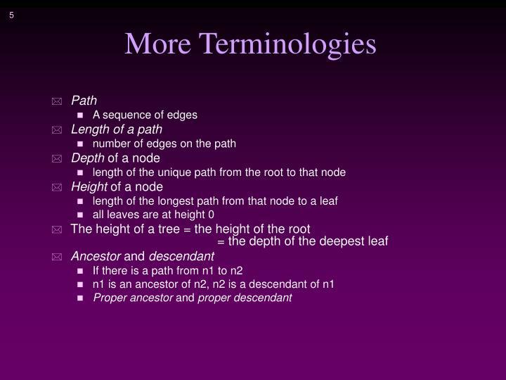 More Terminologies