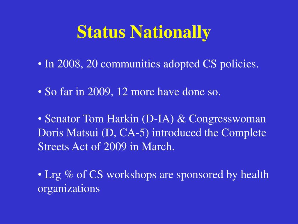 Status Nationally