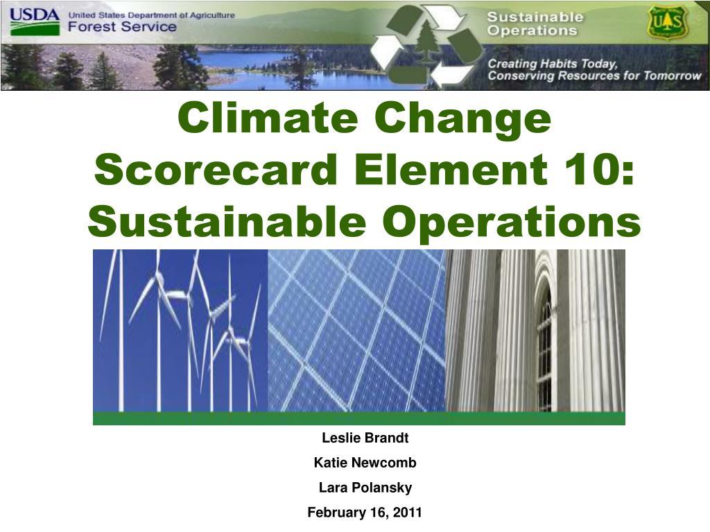 Climate Change Scorecard Element 10: