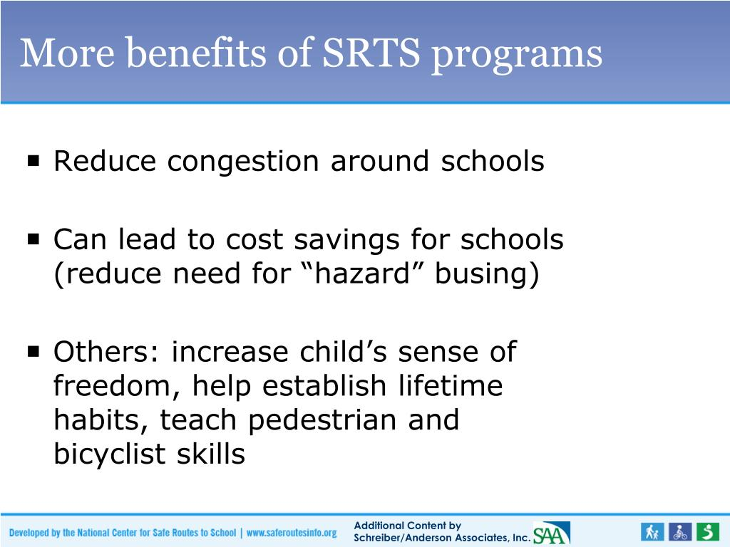 More benefits of SRTS programs