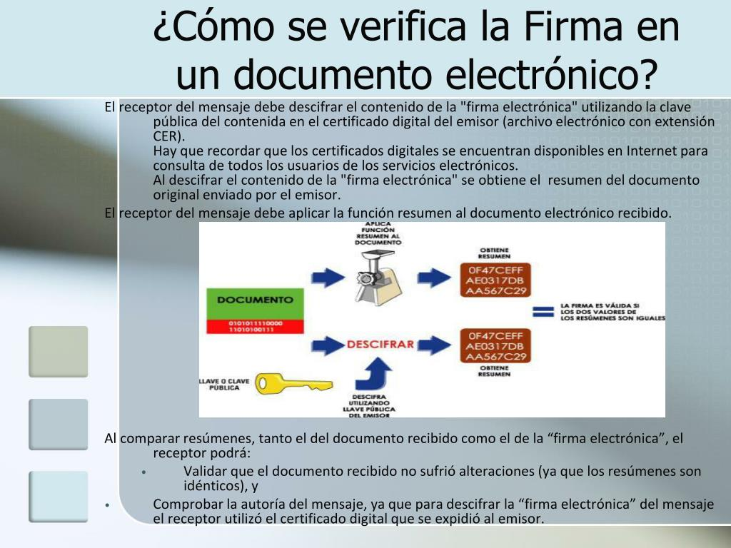 ¿Cómo se verifica la Firma en un documento electrónico?