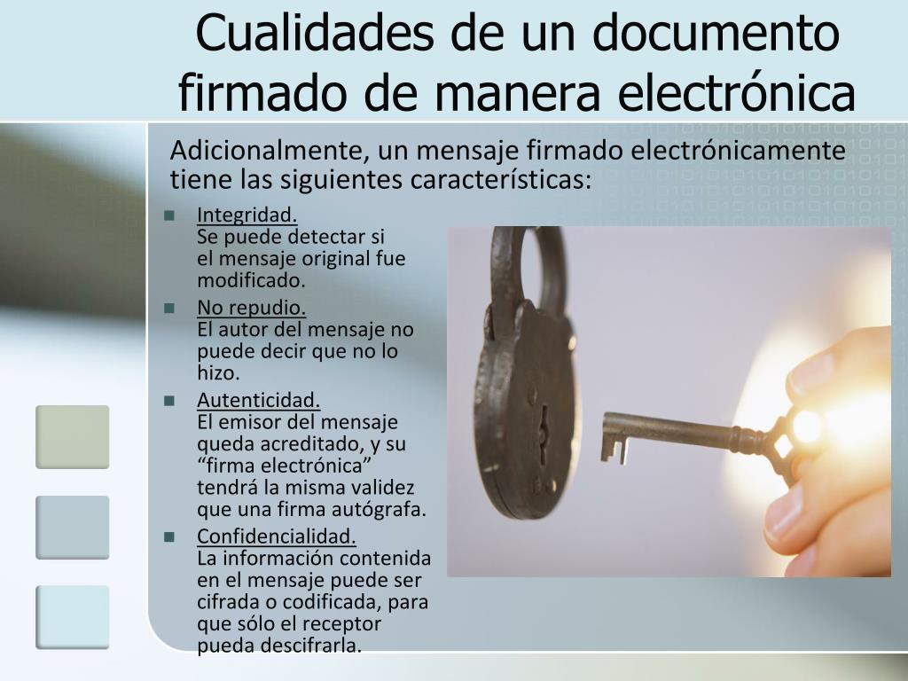 Cualidades de un documento firmado de manera electrónica