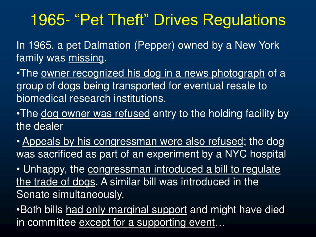 "1965- ""Pet Theft"" Drives Regulations"