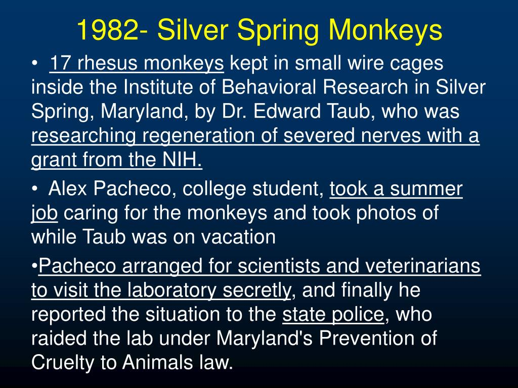 1982- Silver Spring Monkeys