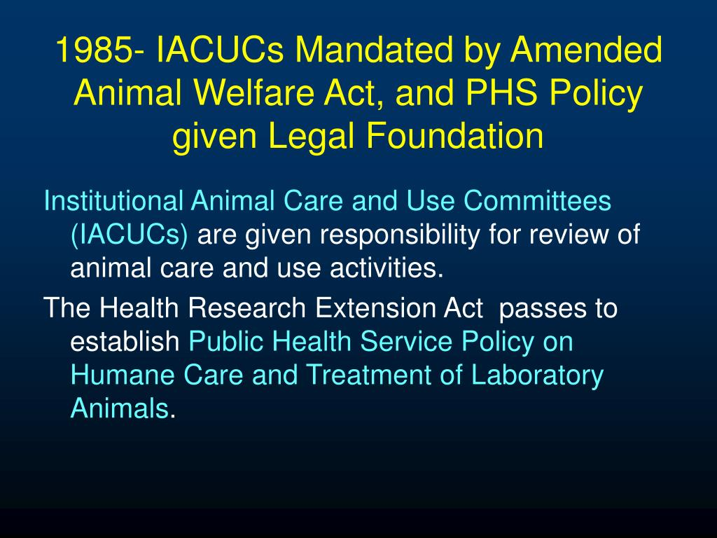 1985- IACUCs Mandated by Amended Animal Welfare Act, and PHS Policy given Legal Foundation